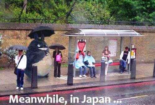 Totoro's standing in the rain