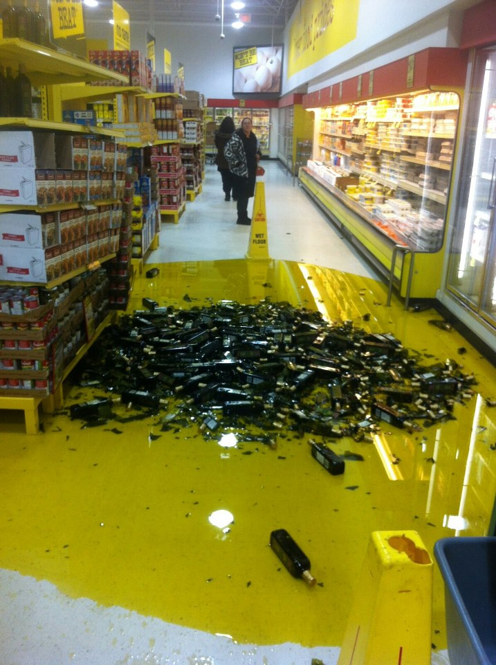 Olive oil spilled on floor