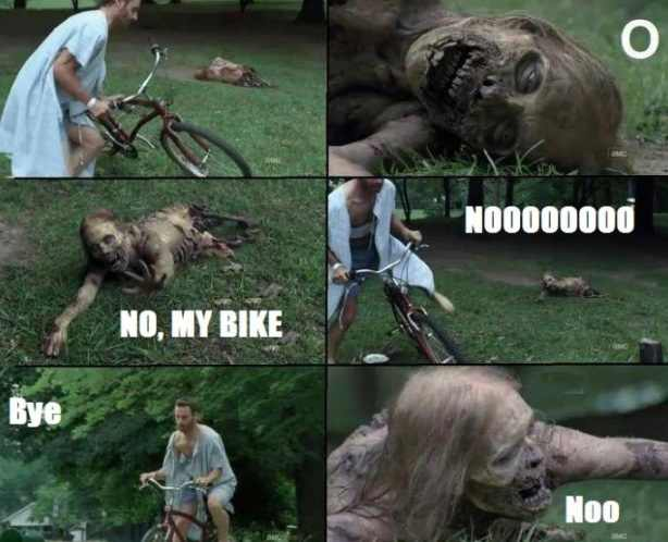 Rick steals a bike from a zombie
