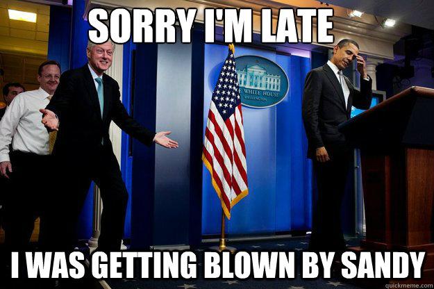 Bill Clinton meme hurricane sandy joke