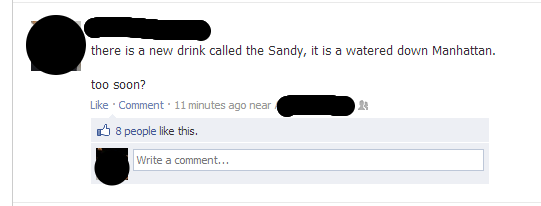 Facebook screenshot of NY hurricane sandy joke