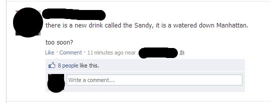 Facebook screenshot of NY hurricane sandy joke
