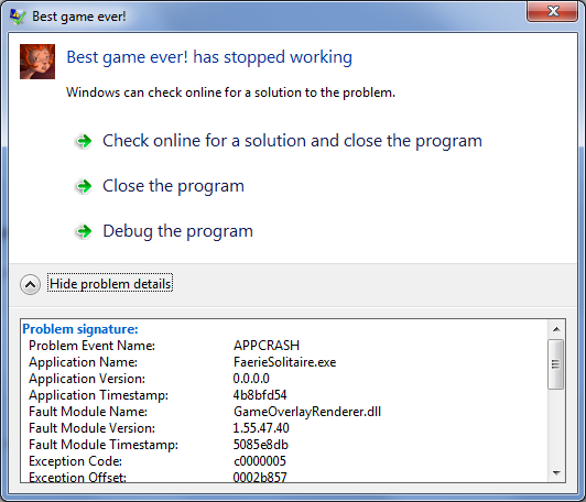 Faerie solitaire windows 7 crash dialog