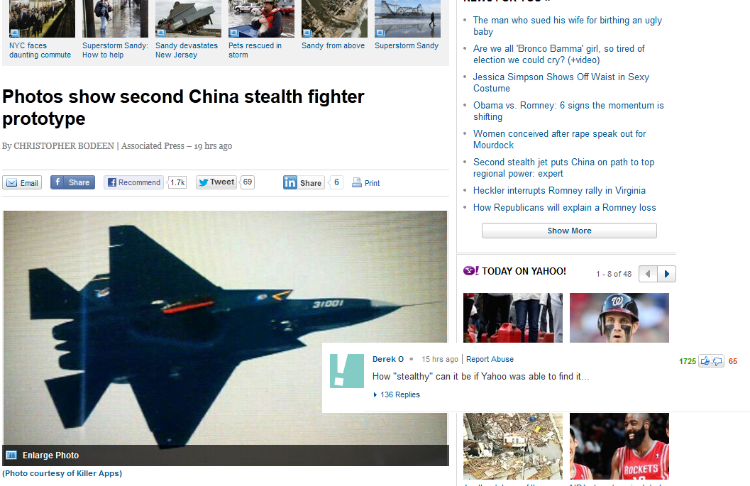 China stealth prototype yahoo news