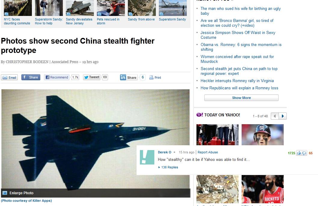 China stealth prototype yahoo news