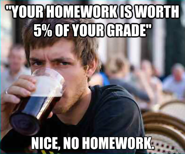 homework is worth 5% of your grade lazy college senior