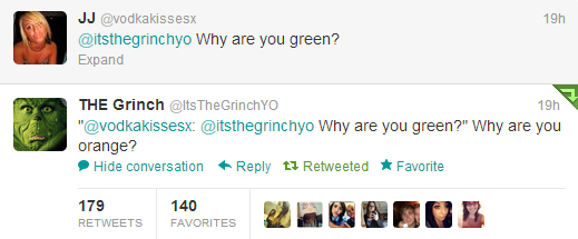 twitter girl asks the grinch why are you green