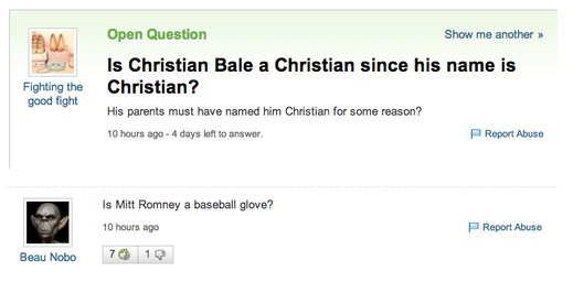 yahoo answers is christian bale a christian