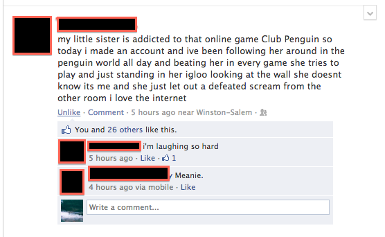 facebook little sister addicted to club penguin trolling