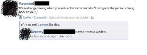 facebook screenshot not recognizing the person in the mirror