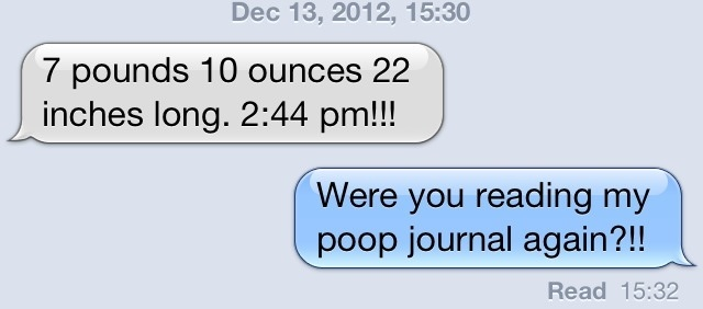 sister had a baby poop journal