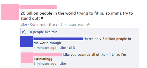 girl thinks that there are 20 billion people on earth