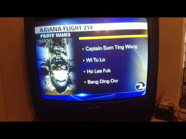 News channel reads the names of the pilots involved in the Asiana flight 214 crash. The asian names read like they mean something in the English language.