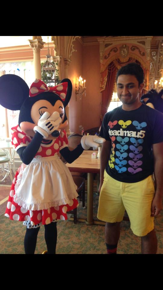 Minnie mouse from Disney Land points at a guy's t-shirt and facepalms. The guy is wearing a deadmau5 shirt.
