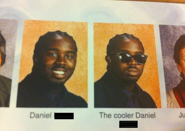 A yearbook photo of two identical people both named Daniel. One of them is smiling while the other has a poker face and is wearing sunglasses.