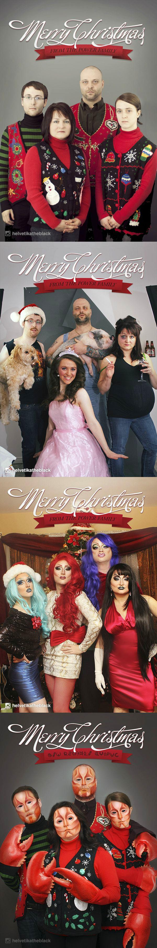 A family takes christmas photos for 4 years each with a different theme. One of them is where they are all ladies.