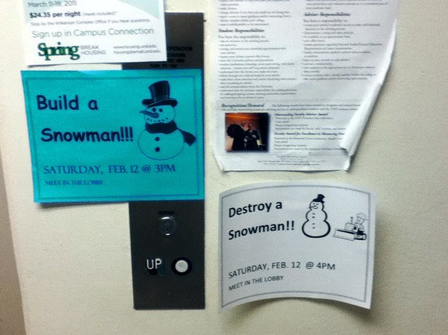 Two contrasting bulletin board ads, one is to build a snowman at 3 pm, the other is to destroy snowmen at 4 pm.