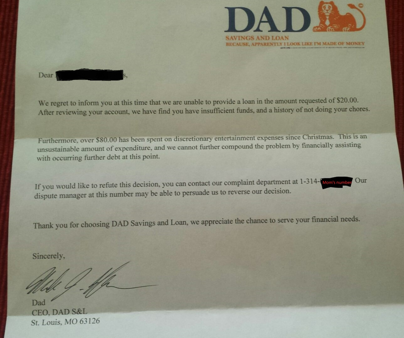 A letter looking like it came from a bank directed to the dad's child