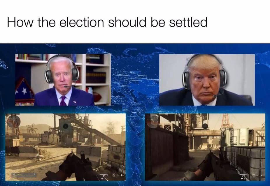 Biden and trump playing an FPS game while wearing headsets